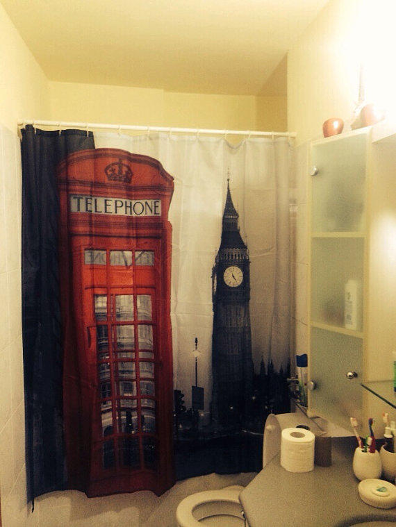 London phone booth shower curtain shower from gmarketing for Bathroom ideas london