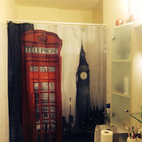 London Phone Booth,Shower Curtain,shower curtain cabin decor, shower decorations,Bathroom Decor,Bathroom Ideas,London Decor,Gift Ideas