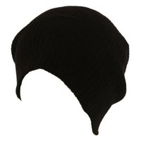 Soft Ribbed Beanie Slouch Slouchy Knit Hat - Black
