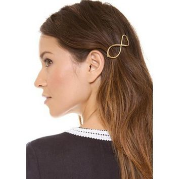 Fashion Women Positive Infinity Gold Barrette Hairpin Hair Clip Headband Metal 8 Word #3546