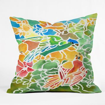 Rosie Brown Parakeets Stain Glass Throw Pillow
