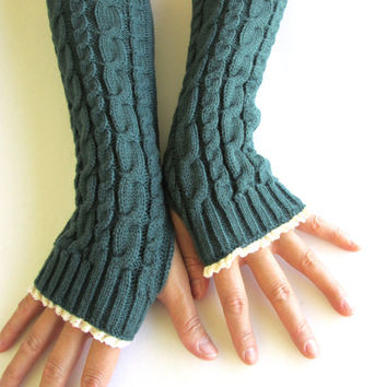 Knitted Arm Warmers in Jungle Green- Fingerless Gloves- Arm Warmers- Womens Gloves.