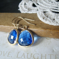 CARRIBEAN brilliant blue glass crystal earrings gold by brideblu