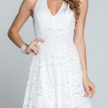 Angelic Dreams White Lace Halter Dress