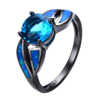 Antique Claw Rings Ocean Blue Fire Opal Stone Light Blue Stone Jewelry Women/Men Engagement Band Black Gold Filled Wedding