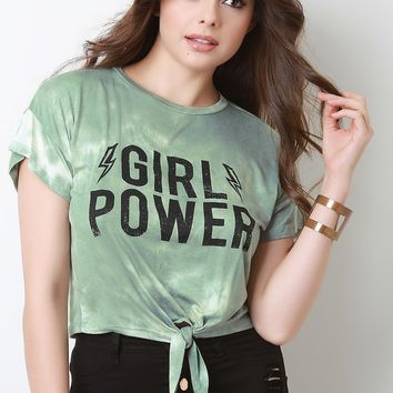 Girl Power Tie Dye Jersey Knit Knotted Crop Top