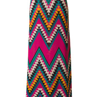 Magenta Chevron Maxi Skirt (Size Medium)