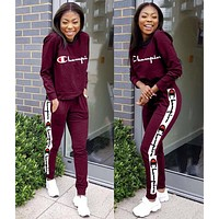 Champion Summer Fashionable Women Personality Print Long Sleeve Round Collar Set Two-Piece Sportswear Burgundy