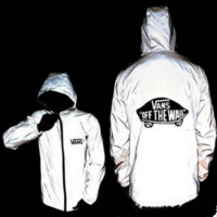 Supreme Vans Unisex Lighting Windbreaker Spureme Thin and thick reflective clothes hoodies  Letters vans