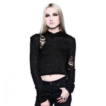 Widow by Lip Service Black Tattered Crop Hoodie