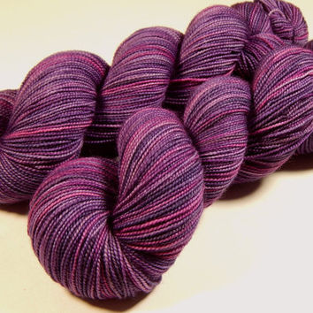 Hand Dyed Yarn - Sock Weight Superwash Merino Wool Yarn - Wisteria Multi - Knitting Yarn, Sock Yarn, Wool Yarn, Purple