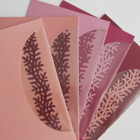FIGHT Cancer  5 x Cards or Event Invitations Handmade w/Silhouette Cutout Insert of a Branch as Symbol of LIFE in PINK Shades, One Of A Kind