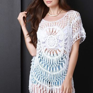 Loose Crochet Knit Fringe Cover Up Top