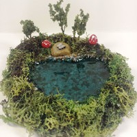 Miniature pond. Fairy garden accessories, dollhouse, terrarium décor. Mushrooms, trees, butterfly.