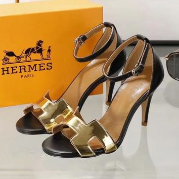 Hermes Women Fashion Ankle Strap Sandals High Heels Shoes 7.5CM