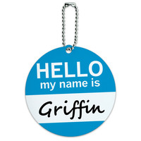Griffin Hello My Name Is Round ID Card Luggage Tag
