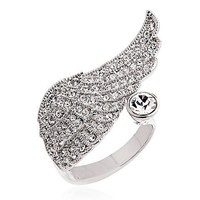 Romantic Austrian Crystal Angel Wing Ring