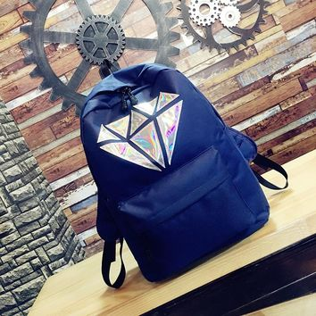 women canvas backpack school bag for girl High School College wind Geometric Laser Teenage big bookbags Summer bag Female 2018