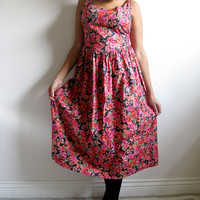 Laura Ashley Vintage 1980s Fuchsia Floral Summer Dress 14