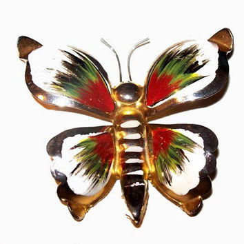 "Butterfly Bug Brooch Pin Red Green White Enamel Gold Metal 2 3/4"" Vintage"