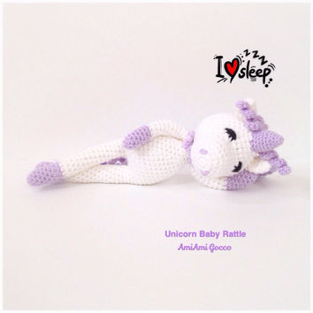Crochet Baby Rattle Amigurumi Unicorn Crochet Unicorn Stuffed Toy Nursely Toy Baby Toy Kawaii Plush Mythical Creature Baby Shower Gift Ideas