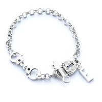 Best Friend Bracelet, Initial Bracelet, Friendship Bracelet, Handcuff Bracelet, Partners In Crime, Teenager Jewellery, Lock And Key Bracelet