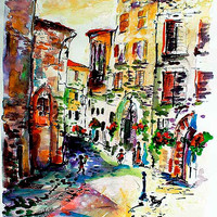 Assisi Italy Old Town Street Scene Watercolor and Ink