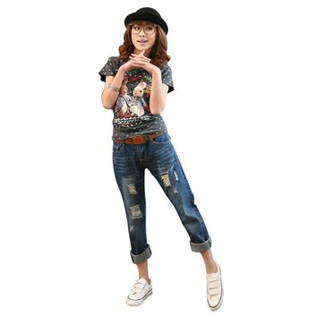 2017 New Arrival Korean Style Loose Rock Revival Women Hole Jeans Female Plus Size Jeans Female Ripped Jean Freeshipping