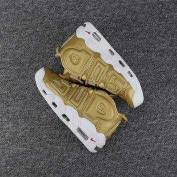 Best Deal Online Nike Air More Uptempo x Supreme White Gold Men Sneakers Women Sports Shoes
