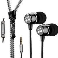 Zipbuds FRESH Noise-Isolating Metal Earbuds with 3-Button Mic/Remote and Tangle Free Zipper Cabling (Black)