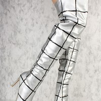 Silver Metallic Color Block Pointy Toe Thigh High Boots Faux Leather *Kylie Inspired*