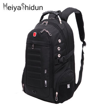 Meiyashidun Men Backpacks Brand Travel School Bag Teengers Laptop Military Back packS Swiss Gear Wenger Backpack Mochilas Zipper