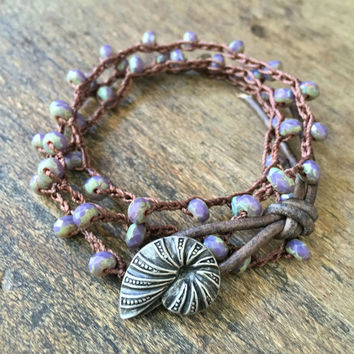 Seashell Crochet Bracelet, Beachcomber, Knotted Beaded Wrap, Purple Patina Crochet Jewelry by Two Silver Sisters twosilversisters