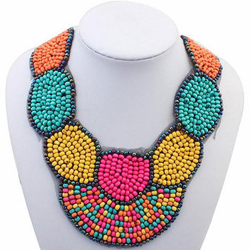 Match-Right Bib Choker Bohemia Beads Statement Necklace Women Multicolor Collar Necklaces & Pendants Summer Style Jewelry