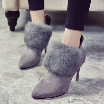 On Sale Hot Deal Winter Pointed Toe High Heel Dr. Martens Shoes Boots [79792537625]