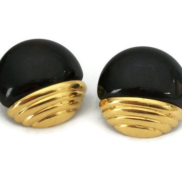 Vintage Lucite and Gold Tone Round Clip On Earrings - Large Big Button Clip Ons - Deep Brown Black Hints of Red Faux Tortoiseshell - Unique