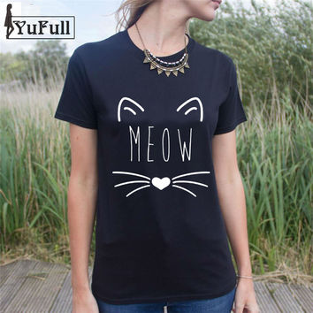 Fashion Summer 2016 Black T Shirt Women Tops Tees Harajuku Graphic Basic Short Sleeve Cat letter Print Tshirt Women Tees Tops