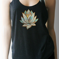 Blue Lotus Yoga Tank. Yoga Shirt. Yoga Top. Yoga Clothing. Lotus Shirt. Yoga. Workout Tank. Workout Shirt. Exercise Clothing. Fitness Tank.
