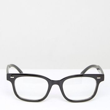 AJ Morgan Rectangular Clear Lens Glasses in Black at asos.com