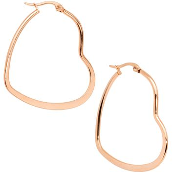 40mm Rose Gold Tone PVD Stainless Steel Heart Hoop Earrings