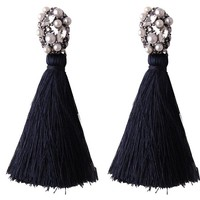 Bilara Black Tassel Earrings