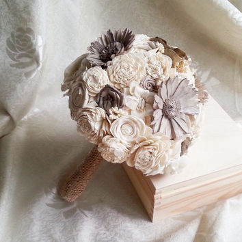 MEDIUM cream brown rustic wedding BOUQUET Ivory and brown Flowers, sola roses, Burlap Handle, sorghum, custom