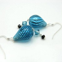 Teal Blue Black Blown Glass Sterling Silver Earrings Chain Crystals