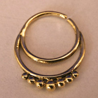 Brass Septum For Pierced Nose - Septum Jewelry - Indian Nose Ring - Ethnic Septum - Septum Piercing - Nose Jewelry (Code: B8)