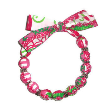 Pink and Green Fabric Necklace Choker made with Lilly Pulitzer by xoribbons