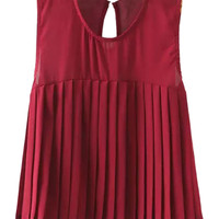Burgundy Sleeveless Pleated Chiffon Cropped Top
