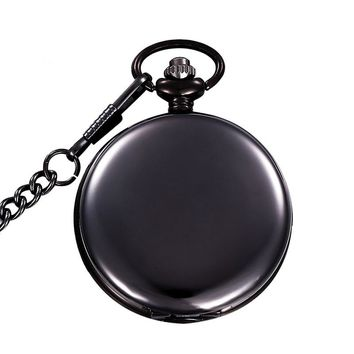 Classical Silver Polish Quartz Men Pocket Watch