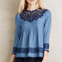 Holding Horses Laced Chambray Top in Blue Size: