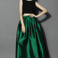 La Diva Pleated Maxi Full Skirt in Green Green