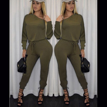Women's Fashion Strapless Long Sleeve High Rise Pencil Pants One-piece Jumpsuit [4919587396]